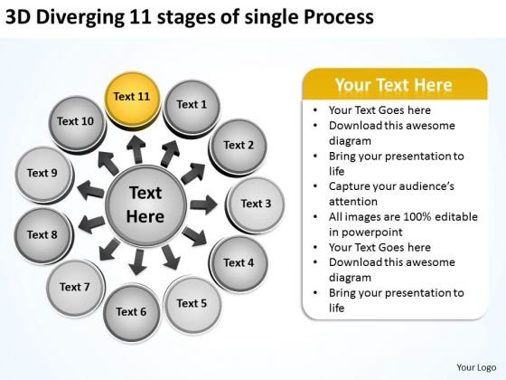 11 Stages Of Single Process Business Relative Circular Flow Arrow Diagram PowerPoint Slides