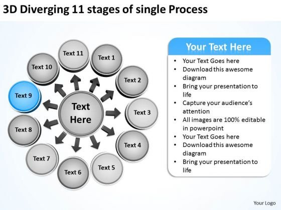 11 Stages Of Single Process Relative Circular Flow Arrow Diagram PowerPoint Slides