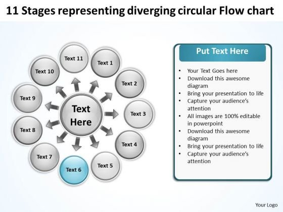 11 Stages Representing Diverging Circular Flow Chart Target PowerPoint Slides