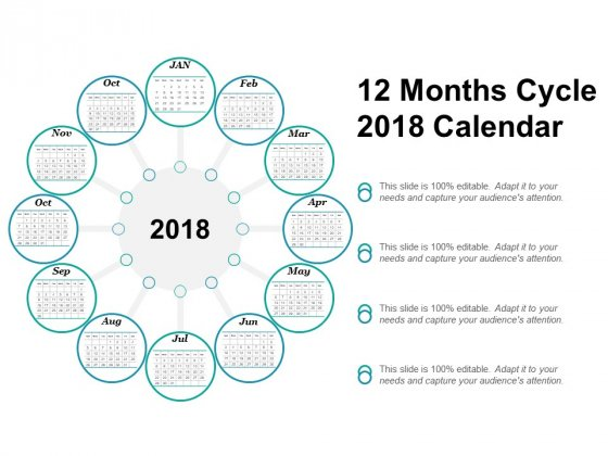 12 Months Cycle 2018 Calendar Ppt Powerpoint Presentation File Format Ideas
