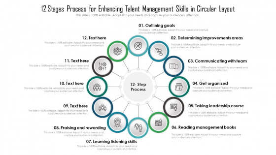 12_Stages_Process_For_Enhancing_Talent_Management_Skills_In_Circular_Layout_Ppt_Summary_Example_Topics_PDF_Slide_1