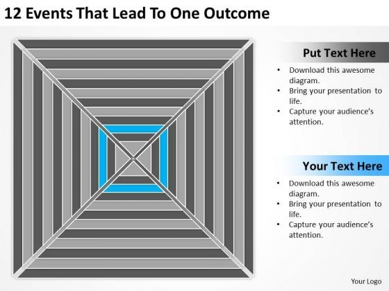 12 Events That Lead To One Outcome Basic Business Plan Template PowerPoint Slides