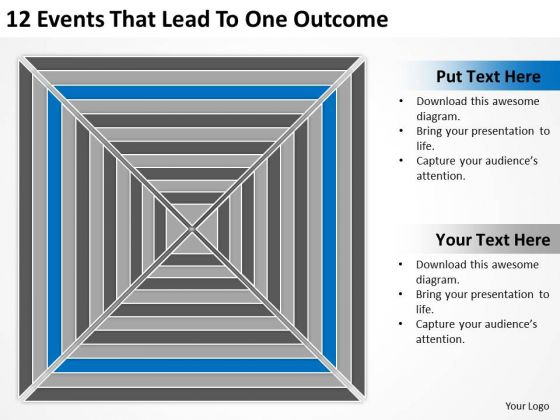 12 Events That Lead To One Outcome Ppt Business Plan Template PowerPoint Slides