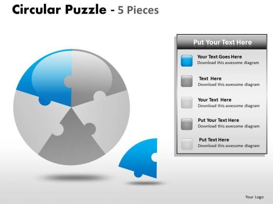 1 Circular Puzzle 5 Pieces PowerPoint Slides And Ppt Diagram Templates