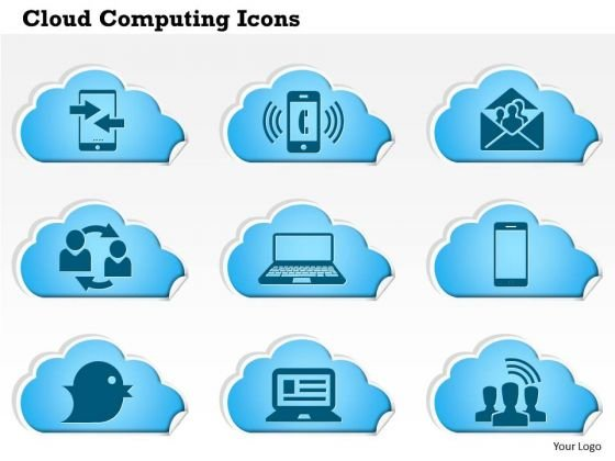 1 Cloud Computing Icons Phone Ringing Email Social Laptop Tweet Communication Ppt Slides