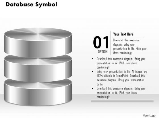 1 Database Symbol Icon Shown By Silver Cylinders To Represent Persistent Storage Ppt Slides
