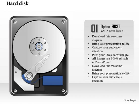1 detailed icons of open hard disk drive with platter and reader ppt