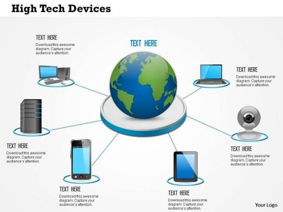 1 High Tech Devices Laptop Tablet Phone Connected To Centralized Data Center With Globe Ppt Slides