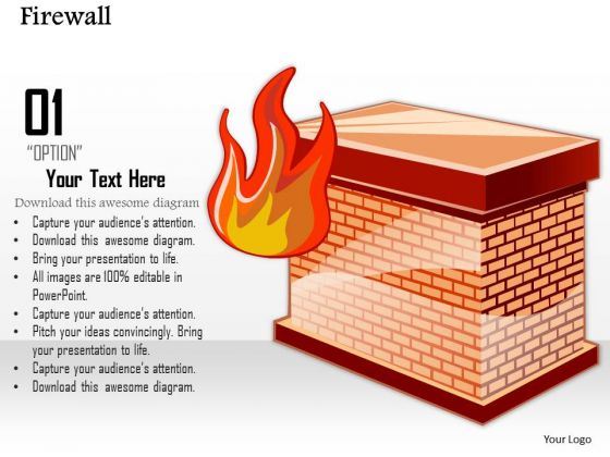1 Icon Of A Firewall To Separate The Internal Network From The External World Ppt Slides