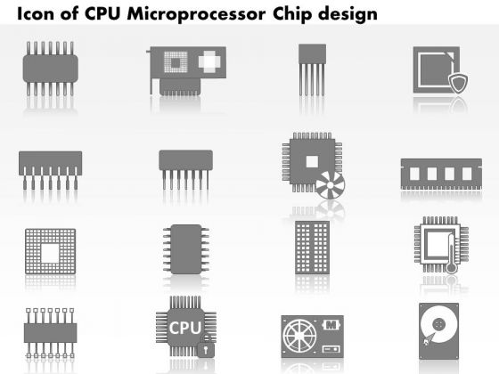 1 Icons Of Cpu Microprocessor Chip Design With Electronic Components Motherboard Gpu Ppt Slides