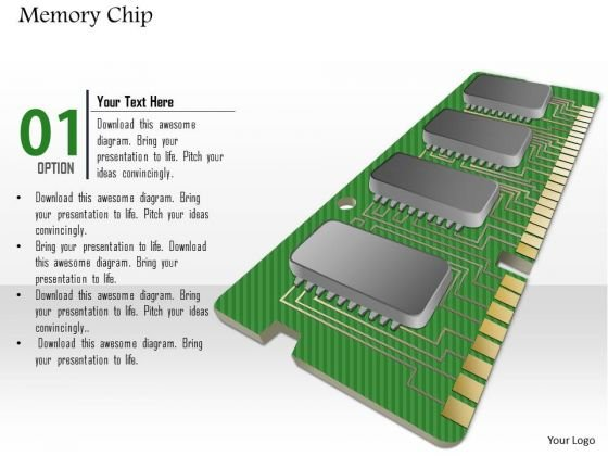 1 Memory Chip Shown By Pcb Printed Circuit Board With Chips And Connections Ppt Slides