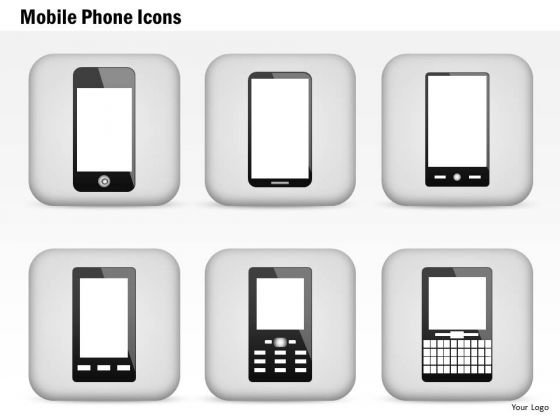 1 Mobile Phone Icons Iphone Blackberry Android Wireless Devices Ppt Slides