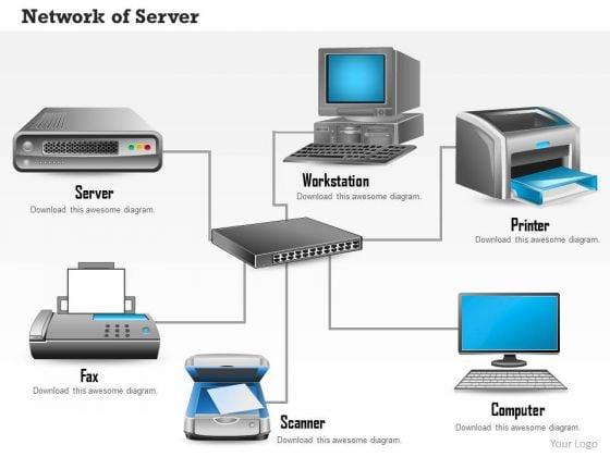1_network_of_server_workstation_printer_fax_scanner_and_computer_over_ethernet_ppt_slides_1