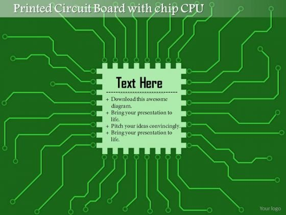 1 Printed Circuit Board Pcb With Chip Cpu Microprocessor With Connections For Eda Ppt Slides