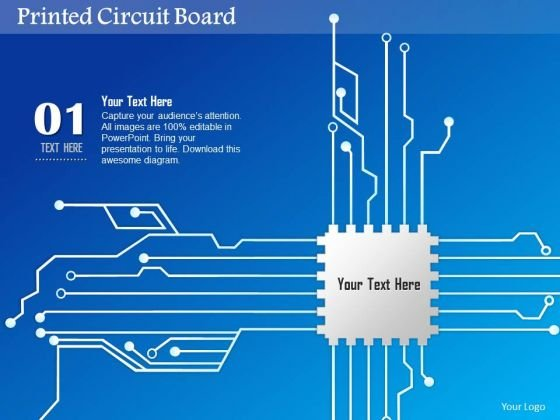 1 Printed Circuit Board Pcb With Cpu Chip Icon For Chip Design Eda Ppt Slides