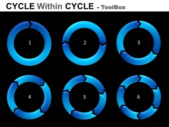 1 To 6 Stages Cycle Diagrams Toolbox PowerPoint Slides