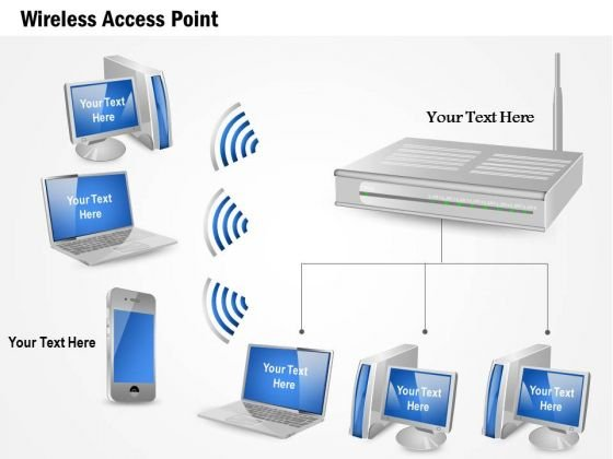 1 Wireles Access Point Communication With Mobile Laptop Desktop Computers Ppt Slide