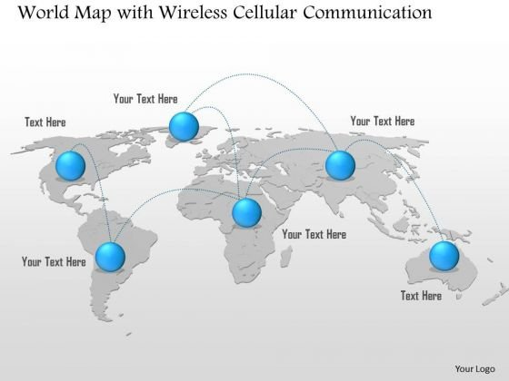 World map powerpoint templates slides and graphics 1 world map with wireless cellular communication hop point to point ppt slide gumiabroncs Choice Image