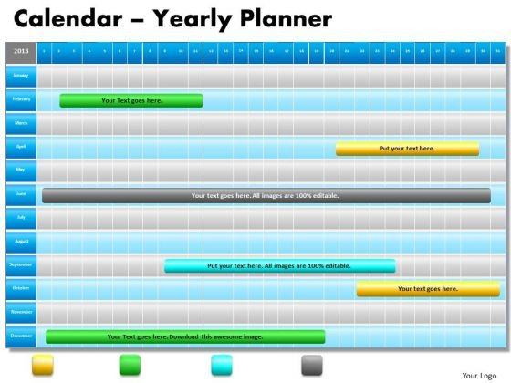 1 Year Planning Gantt Chart PowerPoint Slides Gantt Ppt Templates