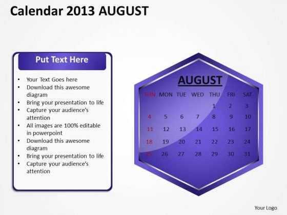 2013 August Calendar PowerPoint Slides Ppt Templates