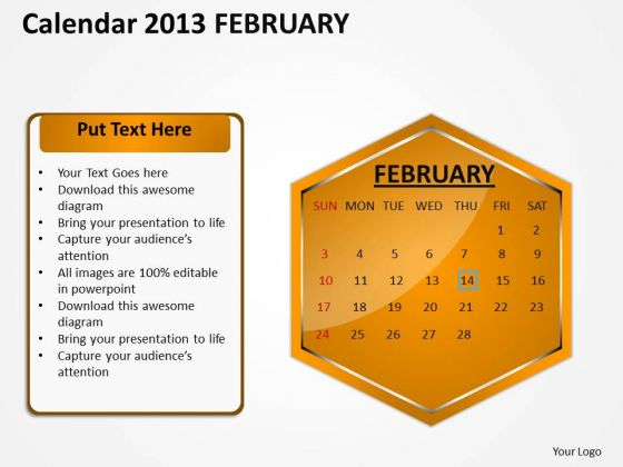 2013 February Calendar PowerPoint Slides Ppt Templates