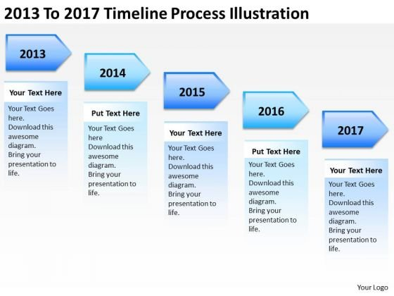 2013 To 2017 Timeline Process Illustration PowerPoint Templates Ppt Slides Graphics