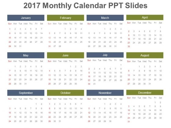2017 Monthly Calendar Ppt Slides