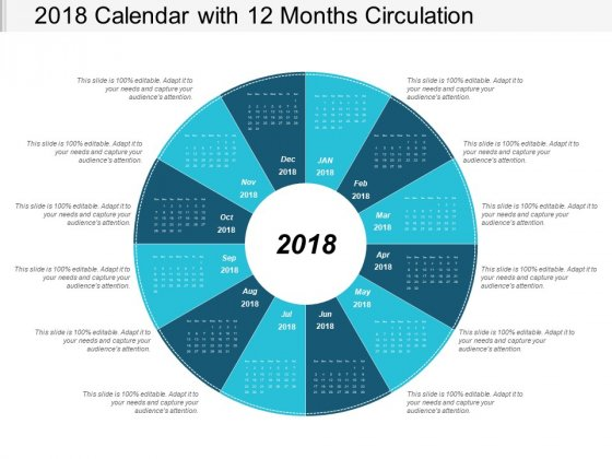 2018 Calendar With 12 Months Circulation Ppt Powerpoint Presentation Infographic Template Elements