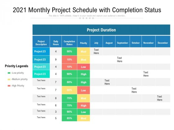 2021 Monthly Project Schedule With Completion Status Ppt PowerPoint Presentation Gallery Clipart PDF