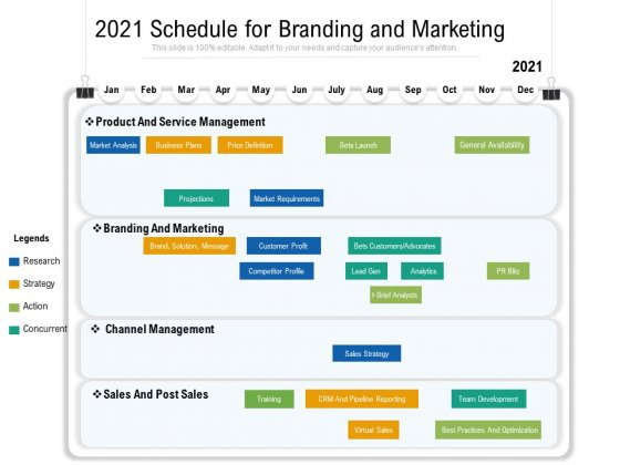 2021 Schedule For Branding And Marketing Ppt PowerPoint Presentation Outline Icon PDF