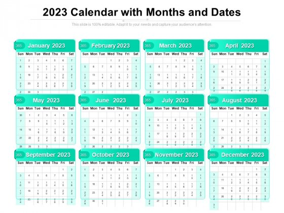 2023 2022 Calendar.2023 Calendar With Months And Dates Ppt Powerpoint Presentation Gallery Layout Ideas Pdf Powerpoint Templates