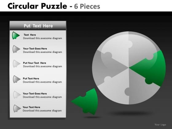 2 Circular Puzzle 6 Pieces PowerPoint Slides And Ppt Diagram Templates
