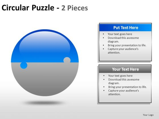 2 Factors Business Circular Puzzle Pieces PowerPoint Slides And Ppt Diagram Templates