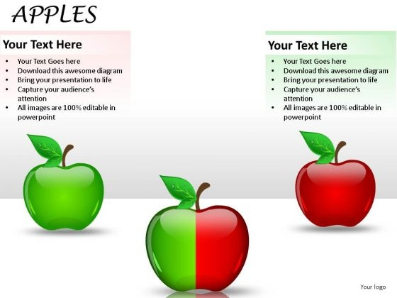 2 Halves Apples PowerPoint Slides And Apples Ppt Templates