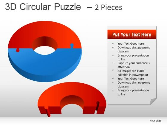 2 Pieces Circular Puzzle PowerPoint Slides And Ppt Diagram Templates