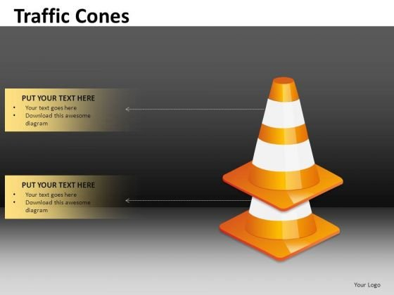 2 Stacked Traffic Cones With Textboxes Editable Ppt Slides