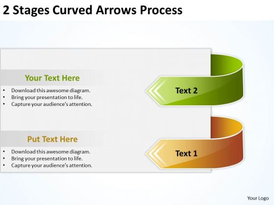 2 Stages Curved Arrows Process Business Planning PowerPoint Templates