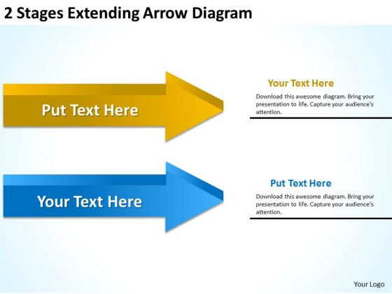 2 Stages Extending Arrow Diagram Templates For Business PowerPoint