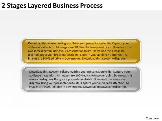 2 Stages Layered Business Process Ppt Plan PowerPoint Templates