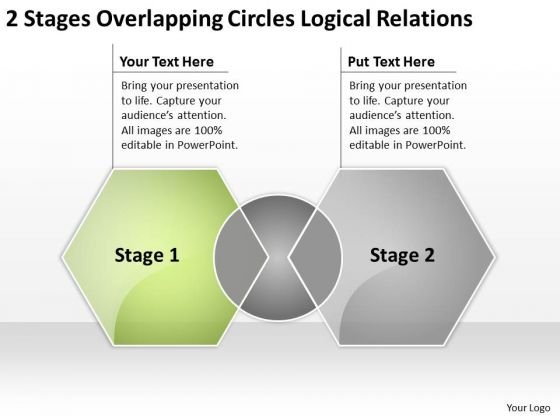 2 Stages Overlapping Circles Logical Relations Business Plan Worksheet PowerPoint Slides