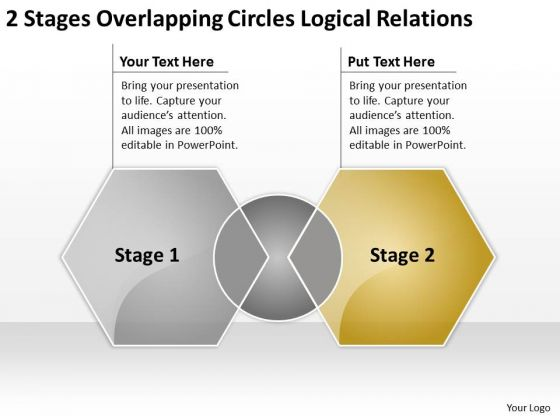 2 Stages Overlapping Circles Logical Relations Ppt Your Business Plan PowerPoint Templates