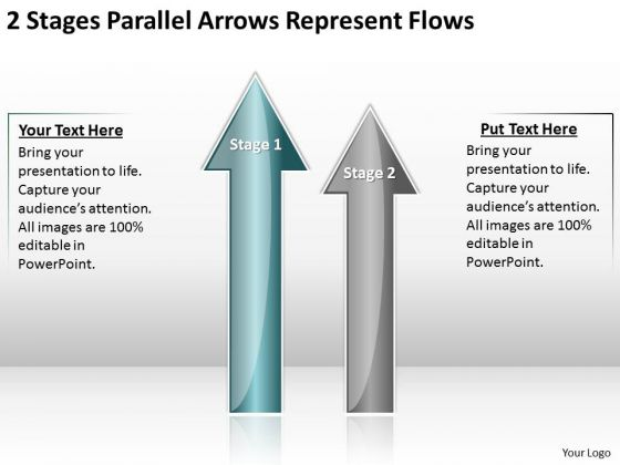 2 Stages Parallel Arrows Represent Flows Best Business Plan Software PowerPoint Templates