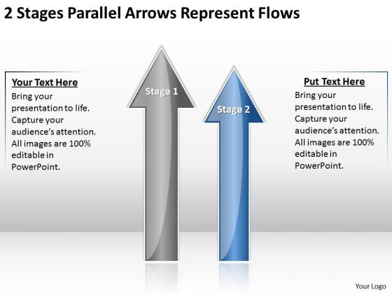 2 Stages Parallel Arrows Represent Flows Ppt Business Plan Consultants PowerPoint Slides