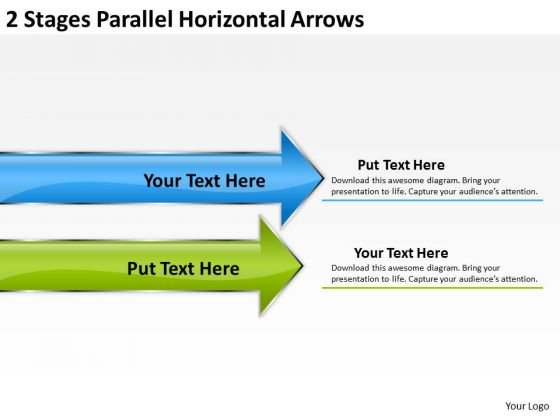 2 Stages Parallel Horizontal Arrows Templates For Business Plans PowerPoint