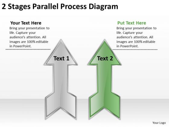 2 Stages Parallel Process Diagram Ppt Best Business Plan Templates PowerPoint Slides