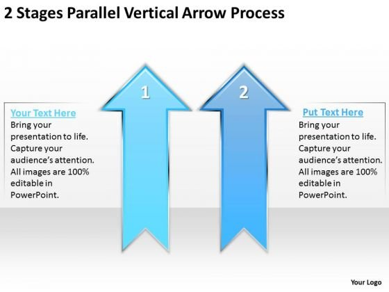2 Stages Parallel Vertical Arrow Process Personal Training Business Plan PowerPoint Templates