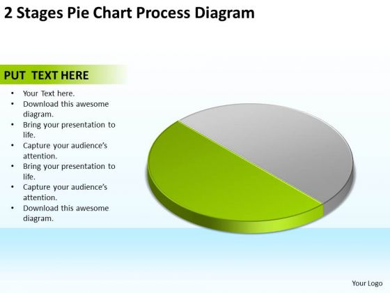 2 Stages Pie Chart Process Diagram What Is Business Plan Template PowerPoint Templates