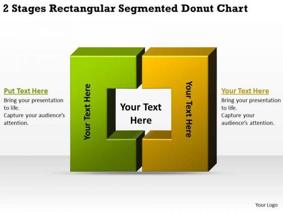 2 Stages Rectangular Segmented Donut Chart Business Plans Online PowerPoint Slides