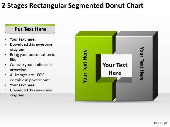 2 Stages Rectangular Segmented Donut Chart Ppt Business Plans Samples PowerPoint Templates