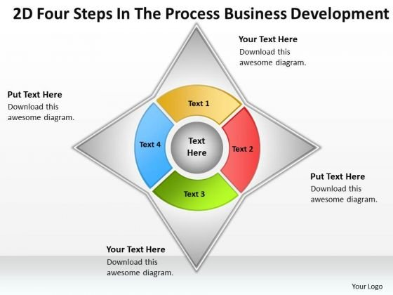 2d Four Steps In The Process Business Development Ppt Plan Ideas PowerPoint Slides